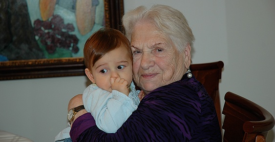 Senior patient and child at one of Shalom Elderly Care's assisted living facilities in Woodland Hills, San Fernando Valley